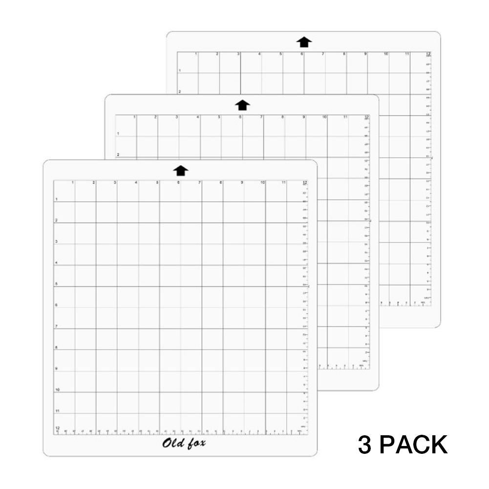 3Pcs Replacement Cutting Mat Pad Transparent Adhesive Mat With Measuring Grid 12 By 12-Inch For Silhouette Cameo Plotter Machine