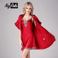 New 100% silk red noble spaghetti strap nightdress short sleeve women bathrobes summer sexy nightdress robe gown sets women