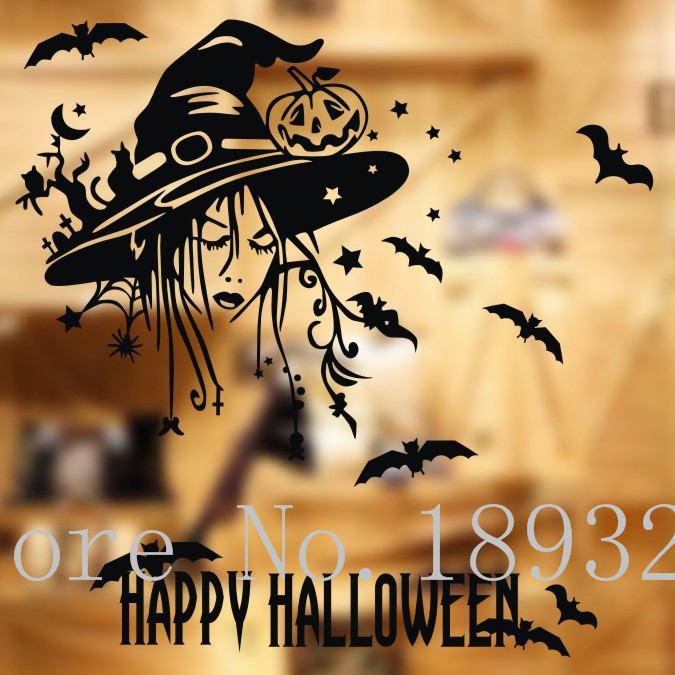 free shipping happy halloween decoration wall stickers vinyl removable stickers decal shop cafe bar window glass