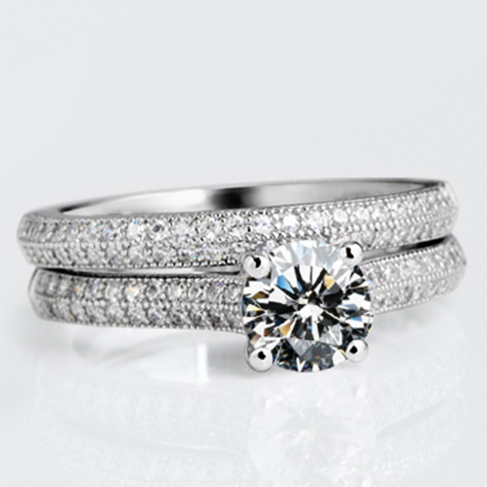 2Pcs/1Set Stylish Jewelry Lady Ring Sterling Silver White Gold Filled Engagement Ring 8-20