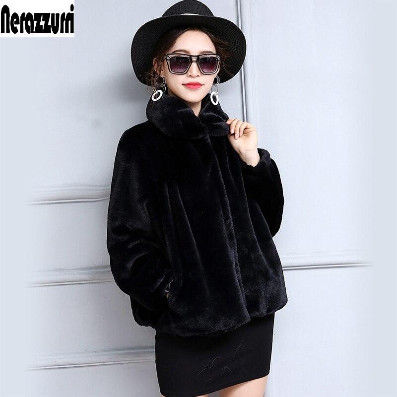 Winter Faux Fur Jacket Women Long Sleeve High Waist Short Plus Size Fake Fur Coats 5XL 6XL 7XL Fashion Furry Pleated Fur Outwear