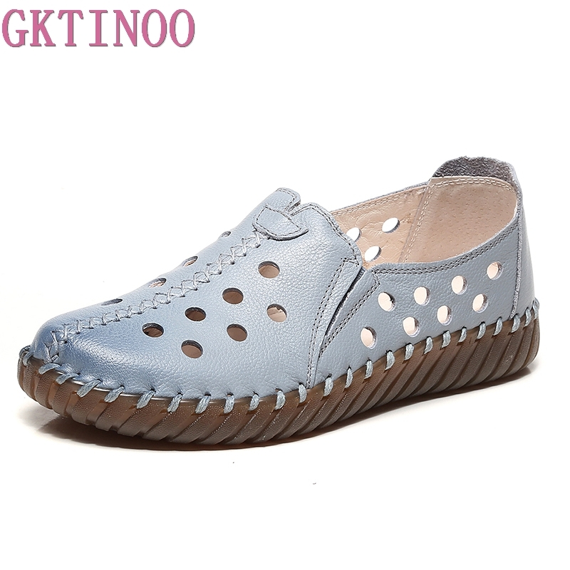 GKTINOO Women's Flats Shoe Genuine Leather Female Shoe 2018 Spring Summer Women Shoes Cut Out Hollow Out Casual Shoes