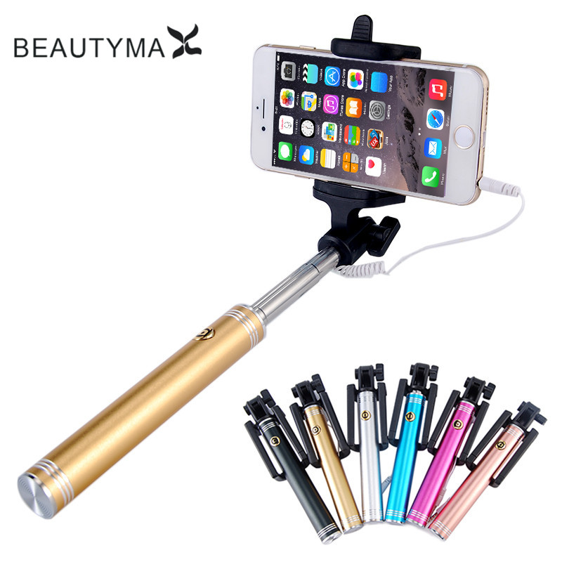 Luxury Aluminum Alloy Selfie Stick Wired Para Selfie Extendable for iphone 4 5 5s 6 6s plus for Samsung S9 plus s8 s7 edge s6 s5 pc material protective water resistance phone pouch for iphone 6 6 plus 6s samsung note 5 s6 edge plus etc