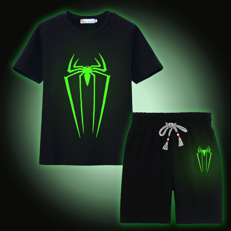 Spider Luminous Boys Clothes Sets 100% Cotton Summer Short Sleeve Fluorescent T-Shirts Pants Children Sport Suit Kids Clothing kids clothes summer brand t shirt boys girls t shirts kids polo shirts children classic sport cheaper tees short sleeve clothing