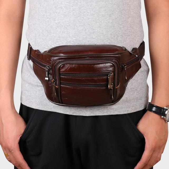 2016 men travel bags mens leather belt bag waist pack men waist bag fanny pack leather waist pochetes homem bolso cintura A028