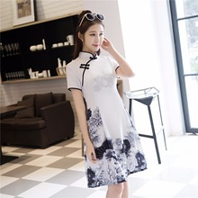 Shanghai Story Short Sleeve Traditional Pink Chinese Dress Women's Traditional Clothing Short Cheongsam White Qipao Dress