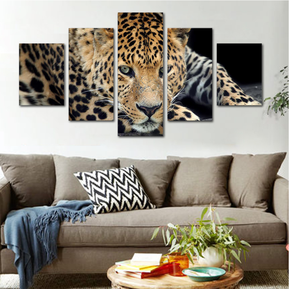 Unframed HD Print 5 Canvas Art Painting Leopards Living Room Decoration Animal Spray Painting Mural Unframed Free Shipping