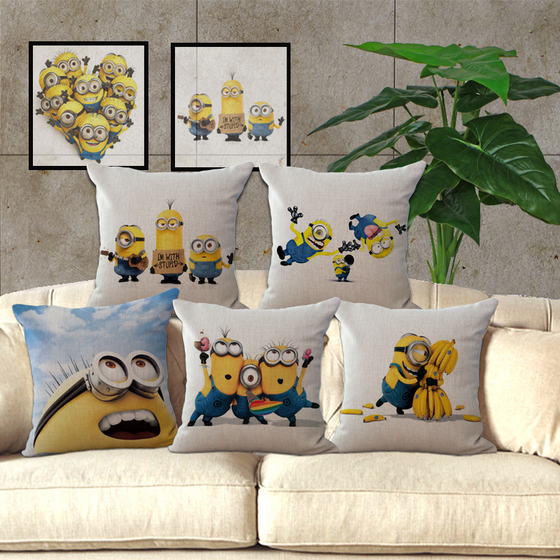 1 Piece Square 45*45cm Decorative Cartoon Minions Pillow Case Cover Pillowcase for House New