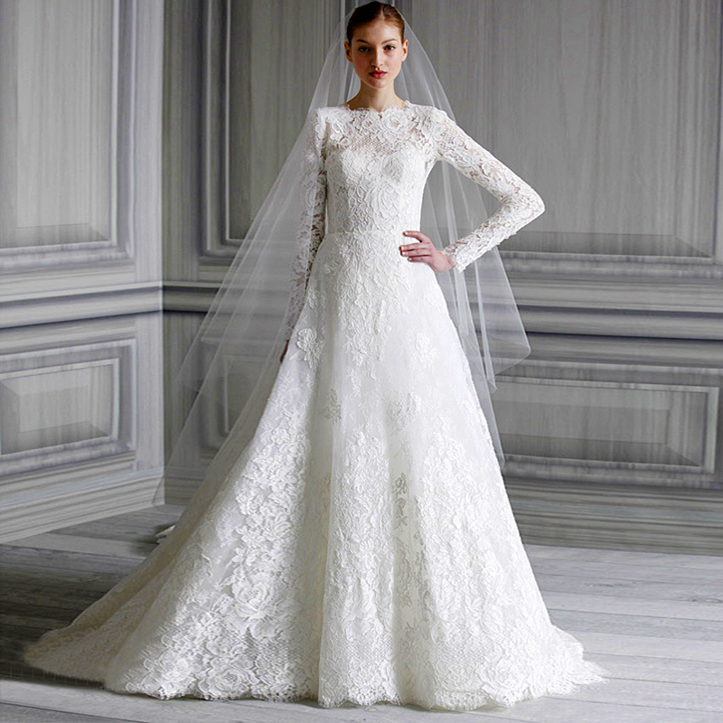 Custom Made High Couture Arabic Lace A Line Long Sleeve Muslim Wedding Dress Bridal Gowns font