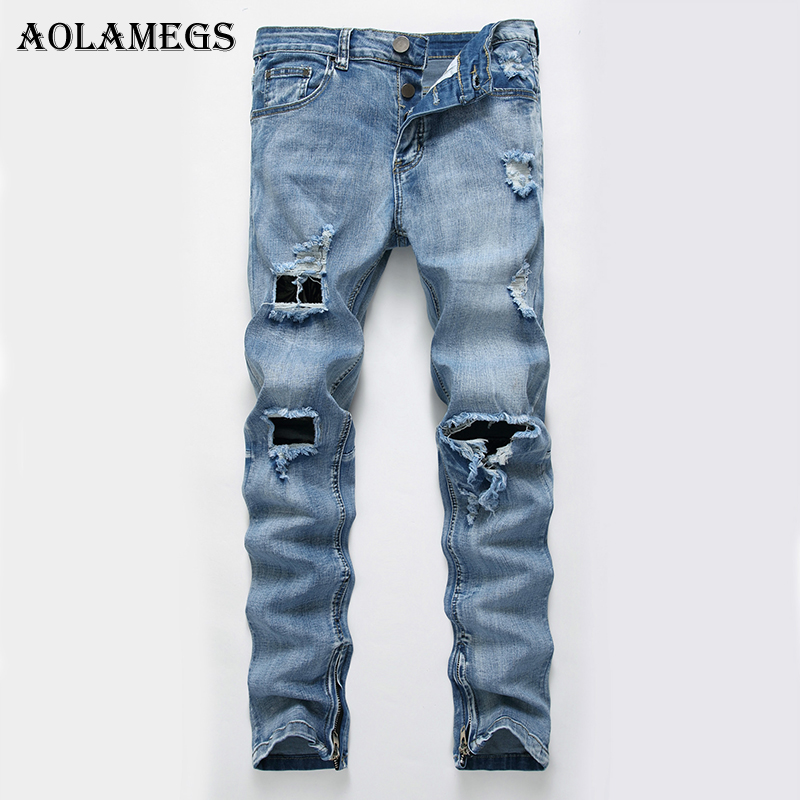 Aolamegs Men Jeans Hole Pants Full Length Trousers Big Zipper Summer Splicing Light Button High Elasticity Denim Straight Solid envmenst 2017 male floral bottom blue hole ankle length jeans men s jeans casual zipper straight denim trousers size 28 40