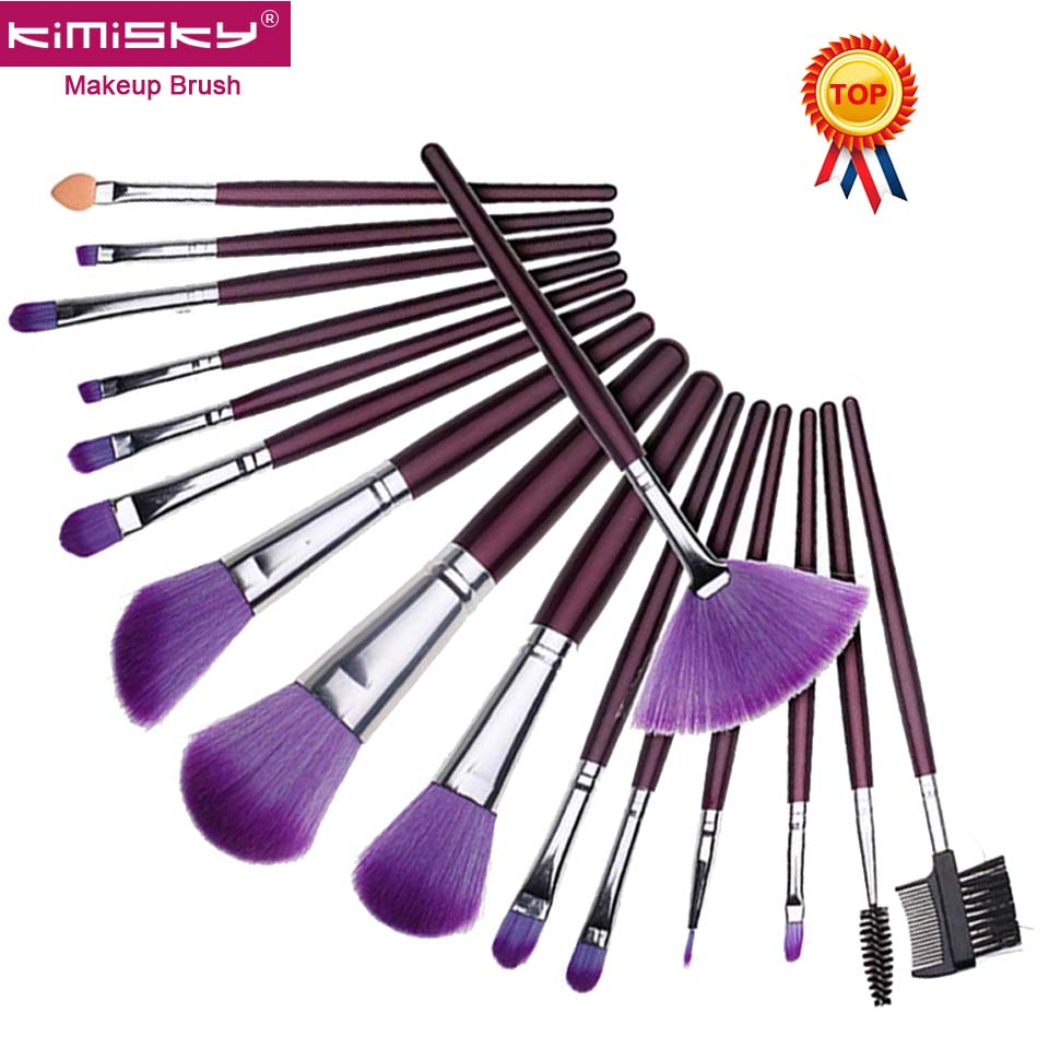 1 Set (16 sticks) Makeup Brushes High Quality Fan Cosmetic Eyeliner Eyebrow Makeup Brush Tools Make-up Hair Beauty + Brush Bag
