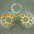 Arashi Front Rear Back Brake Disc Rotors Set For Honda CBR 600 F4i 2001 2002 2003 2004 2005 2006 Stainless Steel, Gold Set