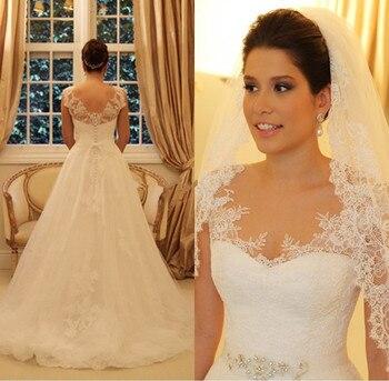 Vestidos de novia nuevo elegante A-Line vestido de boda largo 2016 cuello...