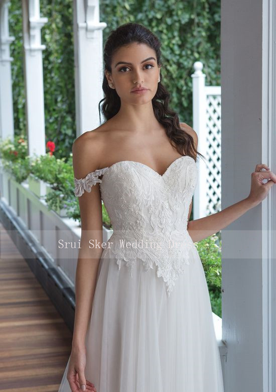 Image 2 - Backless Lace Wedding Dress Off the Shoulder A Line Gowns Appliques Bridal Dresses Button Back Tulle Dress-in Wedding Dresses from Weddings & Events