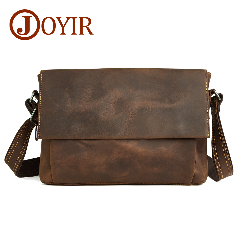 JOYIR Retro Genuine Leather Men Shoulder Bags Leather Men Briefcase Laptop Brand Crossbody Bag Business Messenger Bag mva genuine leather men bag business briefcase messenger handbags men crossbody bags men s travel laptop bag shoulder tote bags