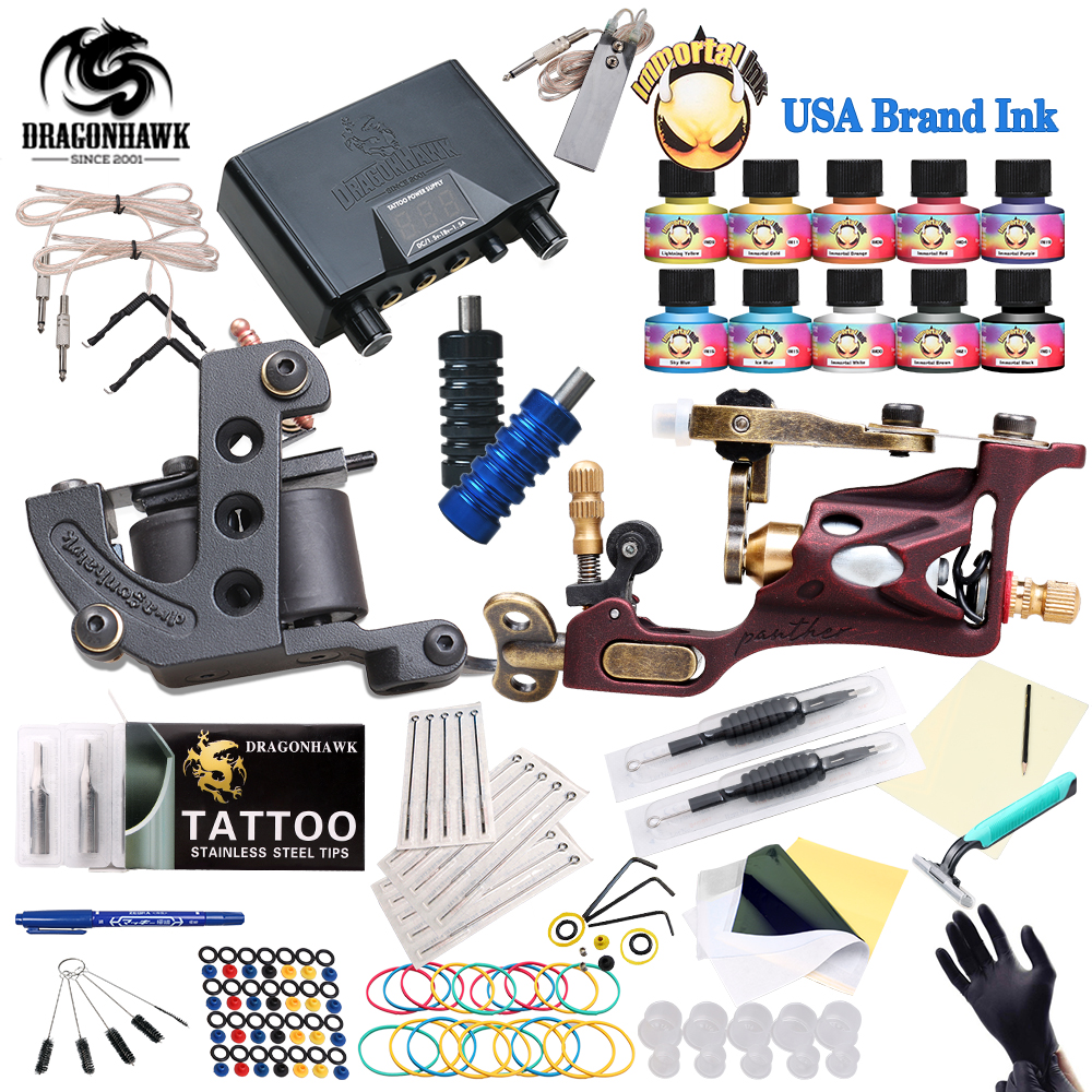 Top Free Ship Complete Tattoo Kit Rotary Tattoo Machine Coils Machine Hot Sales Dragonhawk Power Supply 10 Colors USA Ink Set free ship complete professional tattoo kit with immortal high quality usa brand ink as gift tattoo power supply