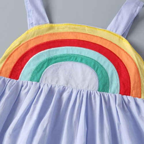 Citgeett Neue Mode Sommer Baby Mädchen Backless Regenbogen Sling Kleid Casual Urlaub Sommer Outfits Nette Strap Neue
