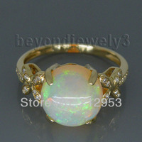 Vintage Round 10x10mm 14Kt Yellow Gold Natural Opal Diamond Wedding Ring for Women Jewelry WU015