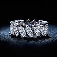 Vintage Punk Wedding Rings 925 Sterling Silver Jewelry For Women White Gold Plated CZ Diamond Anel