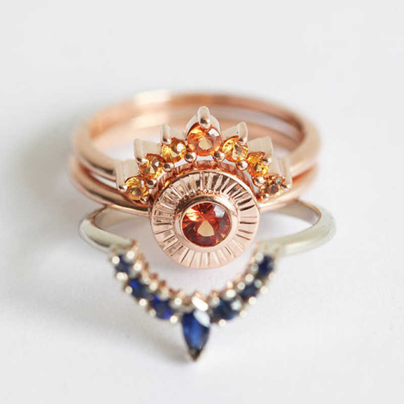 SHUANGR 3pcs Ring Set Vintage Crown Ring Bohemian Ring Set Stack Fashion Women Jewelry Boho Elegant Gold Stacking Women Rings