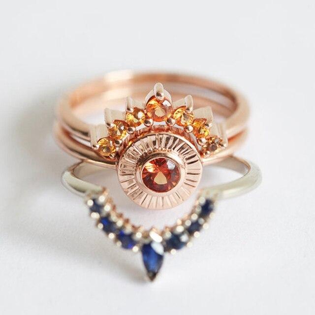 SHUANGR 3pcs Ring Set Vintage Crown Ring Bohemian Ring Set Stack Fashion Women J