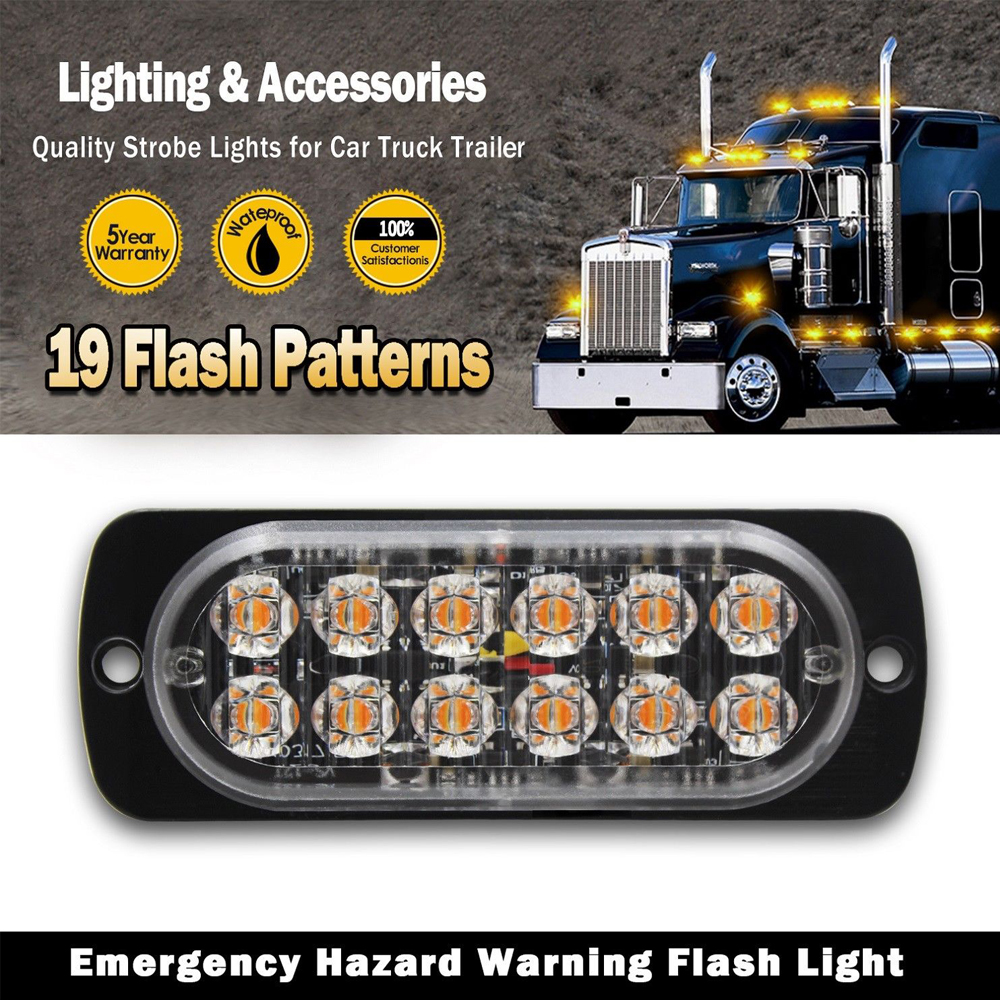 castaleca car lights 2X Side marker strobe lights 12 LED Ultra thin Emergency warning Light 19 flash patterns 12V 24V Waterproof in Car Light Assembly from Automobiles Motorcycles