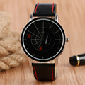 Hot Venda Criativa relógio de Pulso Dos Homens Mostrador Preto Dois Ponto Vermelho Única Plataforma Giratória de Couro Cinta Banda Relógio de Quartzo das Mulheres