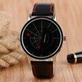 Venta caliente Creativo Hombres Reloj Negro Dial Dos Punto Rojo Único Plato Banda de Cuero Correa de Reloj de Cuarzo de Las Mujeres