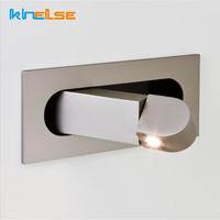 Bedroom Embedded Indoor LED Wall Light Bedside Reading Lamp Folding Recessed Wall Lamp Hotel Cafe Angle Adjustable Wall Light
