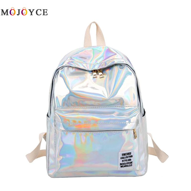 Women Laser Hologram PVC Backpacks Girls Shoulder School Backpack Female Small Leather Holographic Travel Bag Mochila Feminina