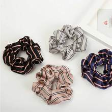 Women Chiffon Striped Scrunchies For Ponytail Holder Lady Elastic Wide Rubber Hair Rope Beauty Accessories