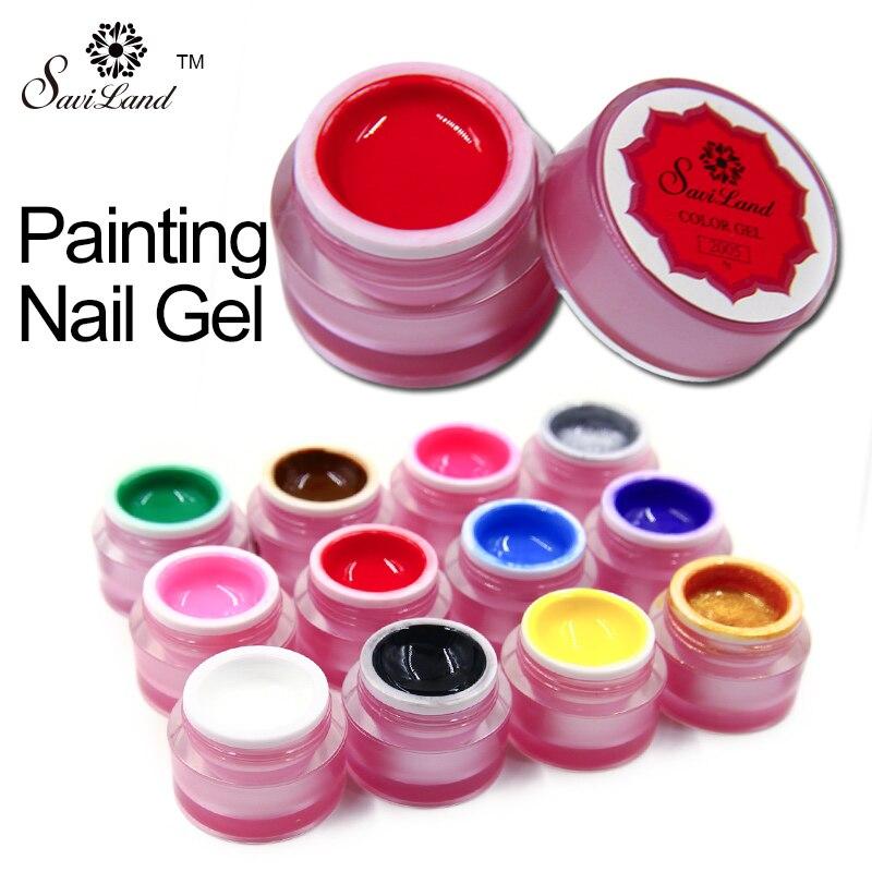 Saviland 1pcs Painted Nail Gule Painting Colors Uv Bio Gel Art Drawing Manicure Soak Off Varnish Diy