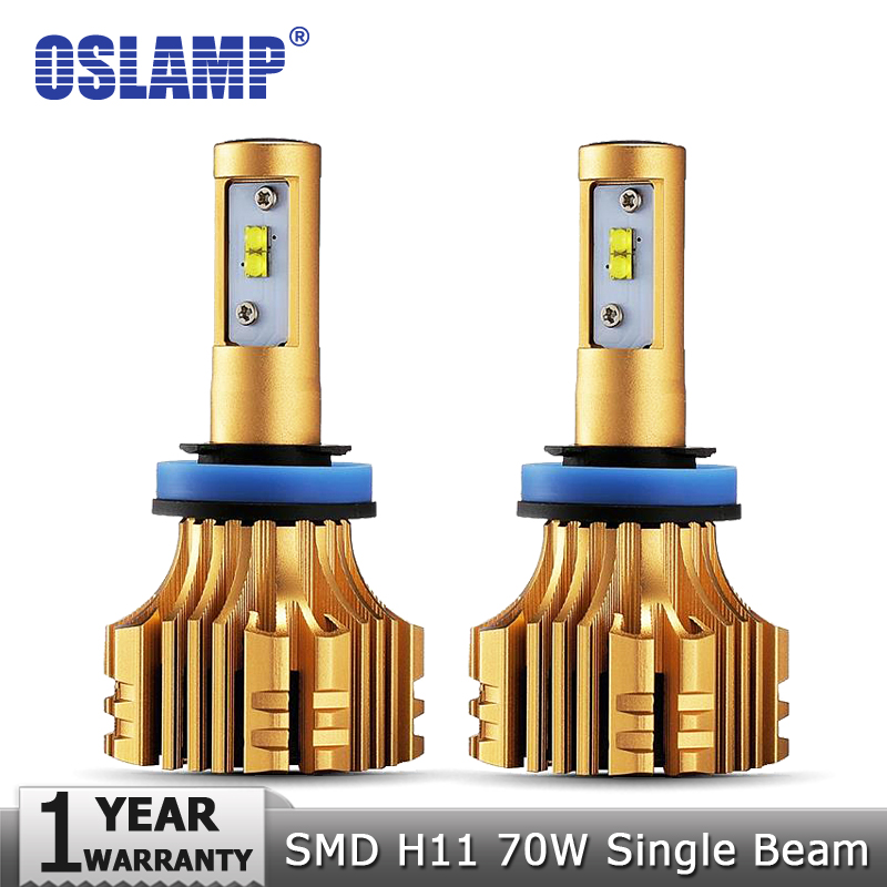 Oslamp SMD CREE Chips 70W 7000LM H11 LED Headlight Kits 6500K White Car Bulbs Auto Led Headlamps H11 Fog bulbs All-in-one S6