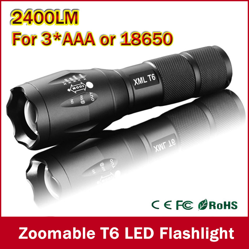 Big Promotion Ultra Bright XML-T6 2400Lumens led Torch Zoomable LED Flashlight For 3xAAA or 1x18650 Free shipping