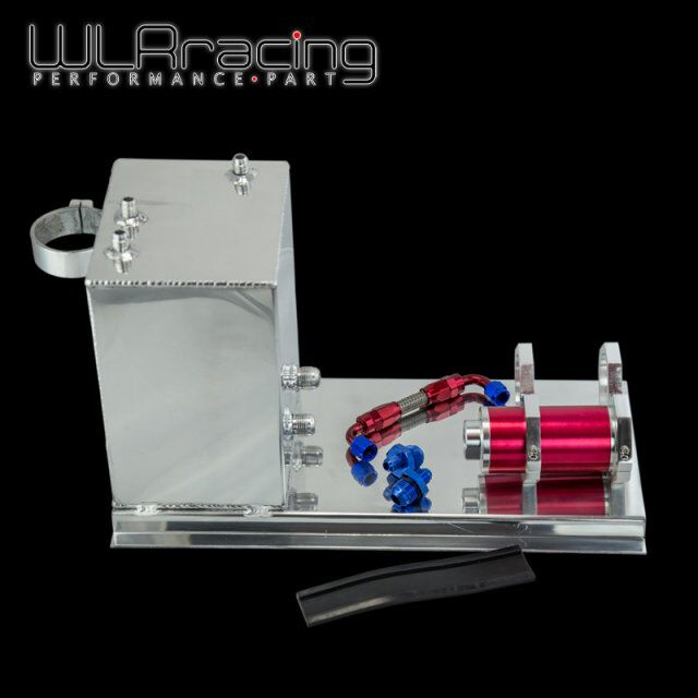 WLR RACING - 5L Aluminum fuel surge tank/fuel tank/fuel cell 5L polished AN fittings + pump mount + filter + hose WLR-TK45 wlr racing 30l aluminium fuel surge tank mirror polished fuel cell foam inside without sensor wlr tk67