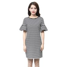 robe ete Casual Women Striped Mini Dress vestidos verano 2018 Short Sleeve Shirt Dresses Casual Female Vestidos(China)