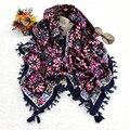 [Ode À Alegria] Novo Moda Feminina Big Praça Scarf Impresso Wraps Lenços das senhoras Das Mulheres Da Marca algodão india floural headband