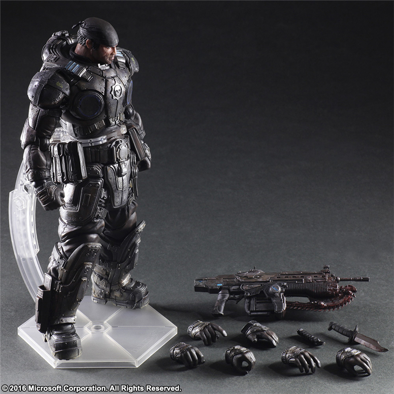 Play Arts Kai Gears of War Marcus Fenix PVC Action Figures Collectible Model Toys 27cm KT3655 new 27cm no base anime card captor sakura mini figures kinomoto sakura daidouji tomoyo pvc action figures toys cardcaptor