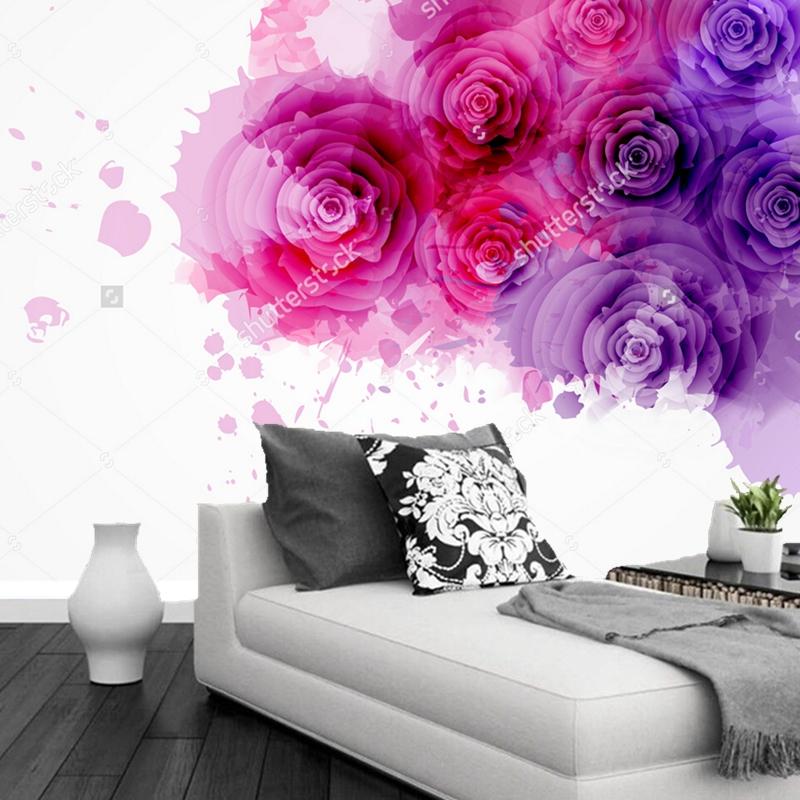 Kundenspezifische Moderne Tapete Lila Und Rosa Rosen 3D Lgemlde Fr Wohnzimmer TV Schlafzimmer