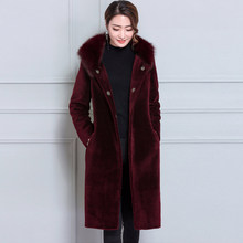 New Wholesale Winter Women Long Hooded Covered Button Faux Wool Coat Slim Full Pelt Office Lady Thick Outerwear XHSD-235