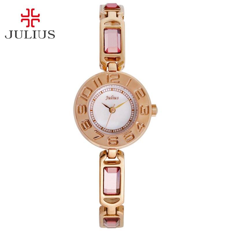 Julius Lady Women's Watch Japan Quartz Hours Fashion Dress Retro Color Chain Bracelet Crystal Rhinestone Shell Girl Gift Box цена