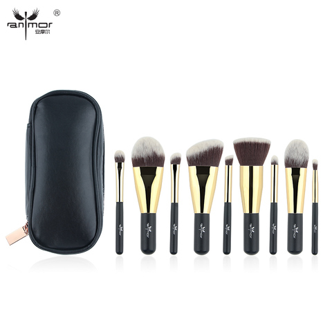 Anmor Hot Sale 9 Pieces Synthetic Hair Makeup Brushes with Sliver Color Bag Beautiful Traveling Makeup Brush Set B001 Lahore