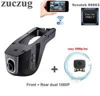 ZUCZUG Novatek 96663 Wifi Car DVR Camera Front Rear dual Full HD 1080P Dual Black box Dash Cam dual lens Car Video Recorder