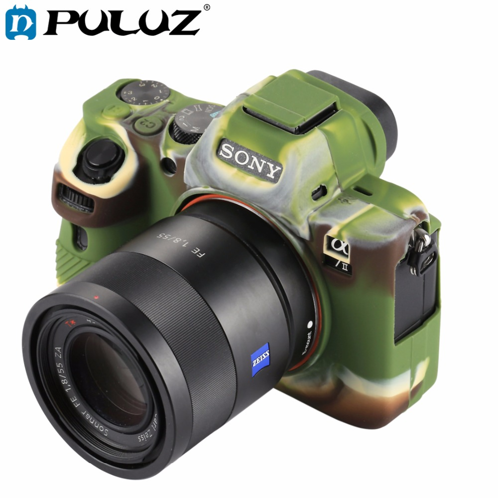 PULUZ Cover Case for Sony ILCE-7MII/7SMII/7RMII Soft Silicone Rubber Camera Protective Body Cover Case Skin Camouflage Camer bag
