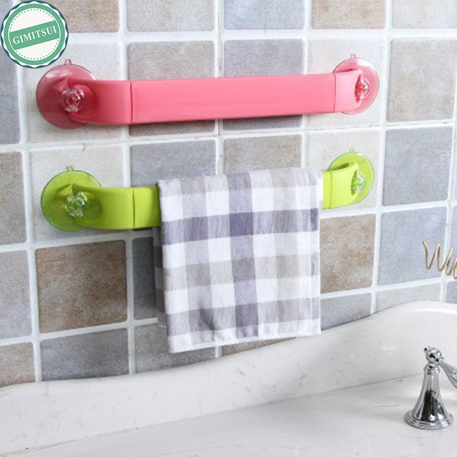 Adjustable Bathroom Towel Hanger Strong Suction Cup Bar Shelf Rack ...