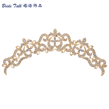 2015 Bridal Flower Hair Comb Tiara Silver/Gold Plated Rhinestone Crystal Hairpins Jewelry for Wedding Hair Accessories COXBY077