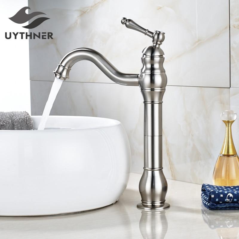 Brushed Nickel Bathroom Basin Sink Faucet Single Handle Mixer Tap Deck Mounted