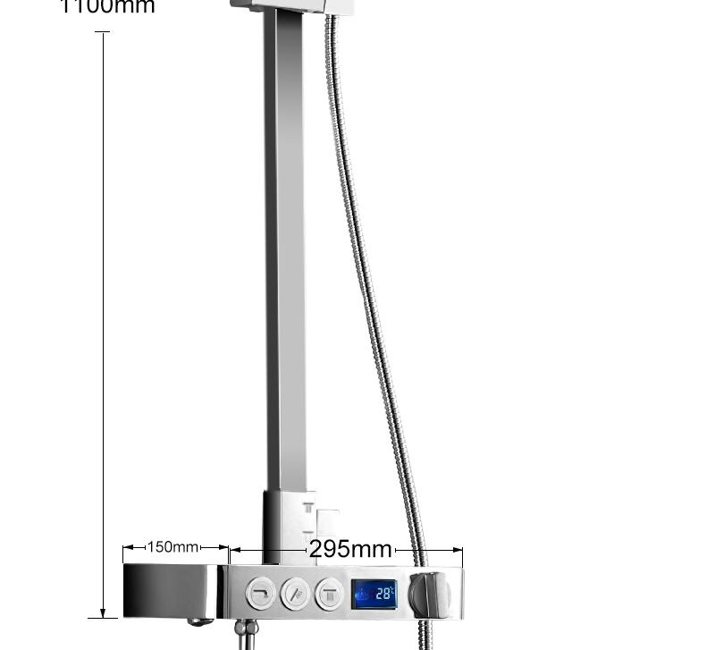 hm Installed Square shower Set Intelligent Digital Temperature Shower Brass Rain Faucet Smart Digital Display Wall Waterfall  (26)