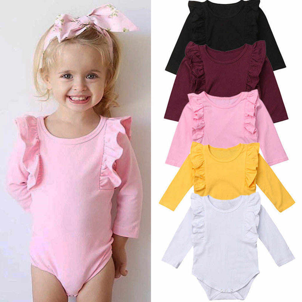 Infant Toddler Baby Girls Boy Long Sleeve Cotton Solid Romper Casual Outfits Jumpsui 2019 New Baby Clothes