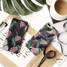 Summer Palm Leaves TPU phone Cases For iphone 7 7Plus for iphone 6 6s 8 8plus 6splus Plants painted phone back cover